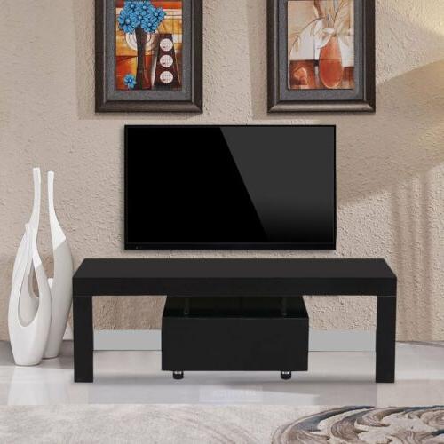 High TV Unit w/LED 1 Black