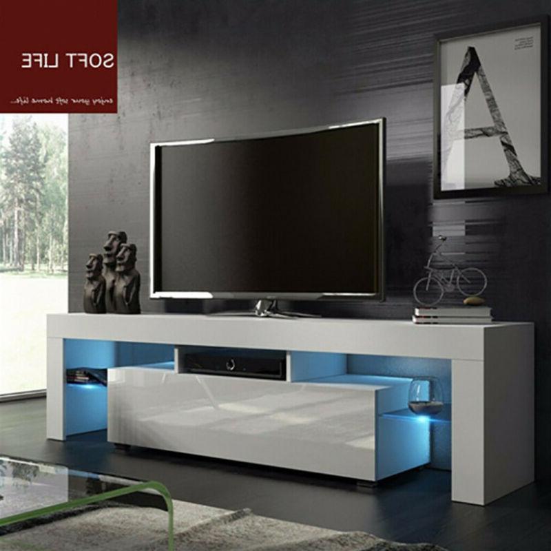 "High Gloss White 51"" TV Stand Unit Cabinet w/LED Light Shelv"