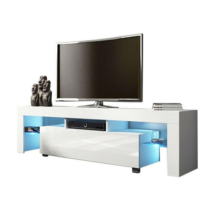 High Gloss TV Unit Cabinet Stand with LED Lights Shelves Hom