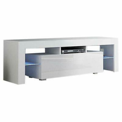 High TV Unit Cabinet Stand with LED Lights Shelves Furniture