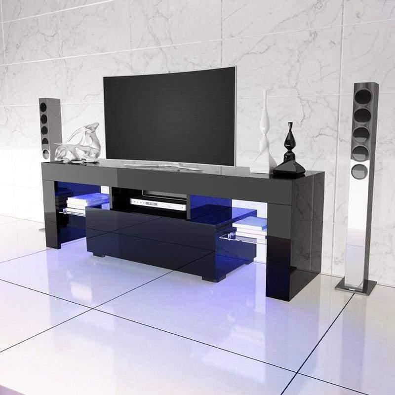 "51"" Wood High Gloss LED TV Stand Entertainment Furniture Cen"
