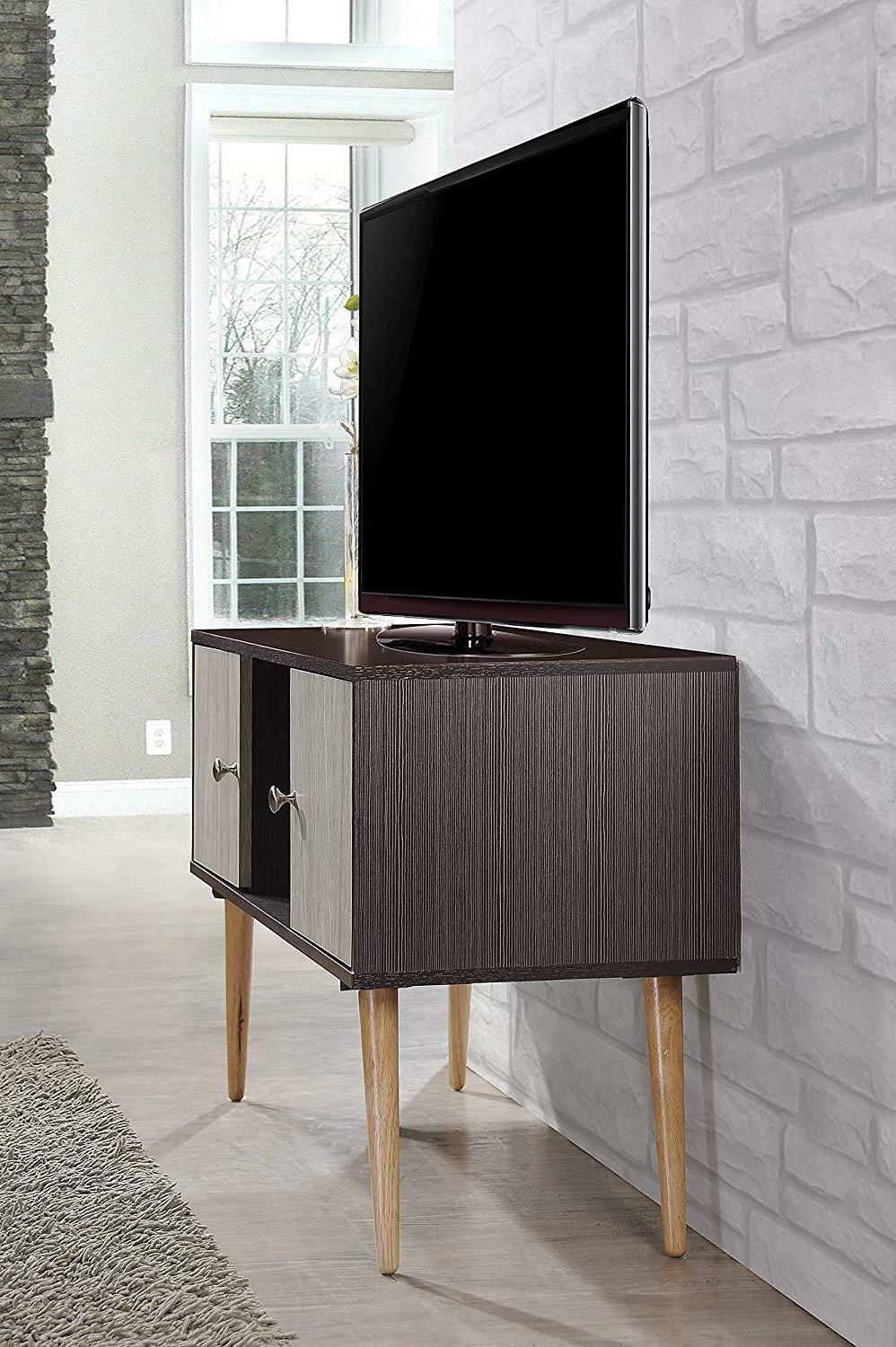 Hodedah Retro Style Stand Two Storage Doors, and Solid Wood Legs,