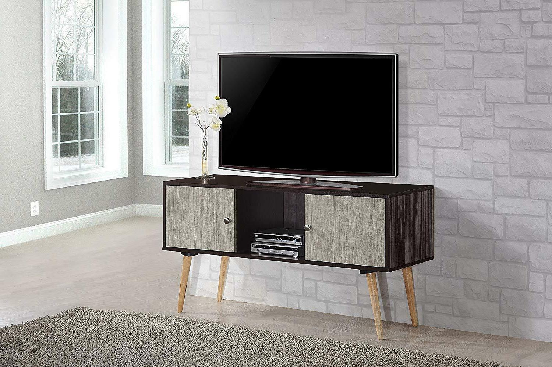 Hodedah Retro Style TV Stand with Doors, Wood Legs,
