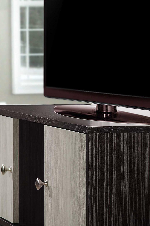Hodedah Retro TV Stand Doors, Solid Wood Legs,