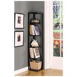 Kings Brand BK08 Wood Wall Corner 5-Tier Bookshelf Case Espr