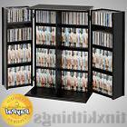 Black Media Storage Cabinet Locking Adjustable Shelves CD DV