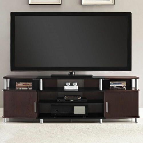 Media TV Stand Entertainment Center Flat Screen TVs Wood Con
