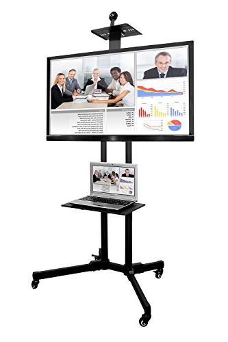 Mount-It! TV Mobile TV Height Adjustable Flat Television Stands Rolling Casters Shelf, Compatible TV Mount Bracket Fits Displays to 70 110