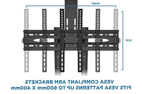 Mount-It! Mobile Height Television Stands Rolling Casters Compatible TV Bracket Fits Displays 37 70 Lbs