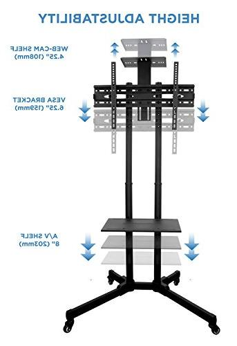 Mount-It! MI-876 Mobile TV Stand Height Adjustable Television with Casters Compatible TV Mount Bracket Fits 70