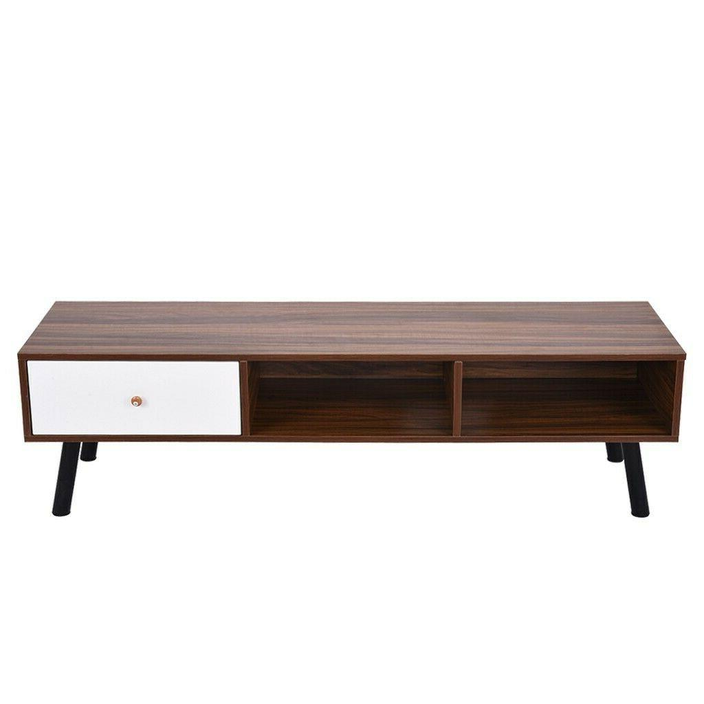 "Mid-Century 55"" Console W/ Drawer Storage Walnut"