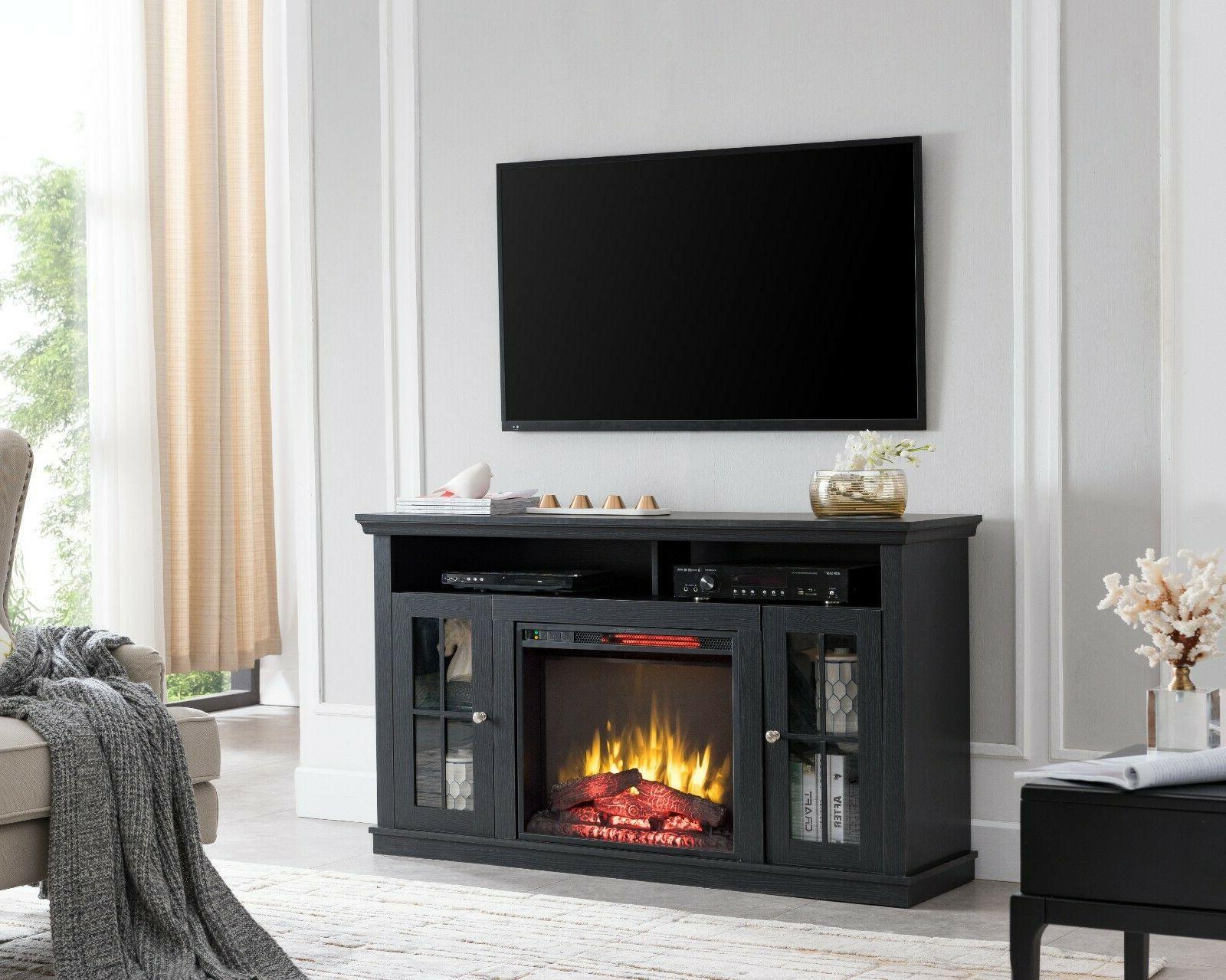 Modern Black Fireplace Unit Fits Up to Tv