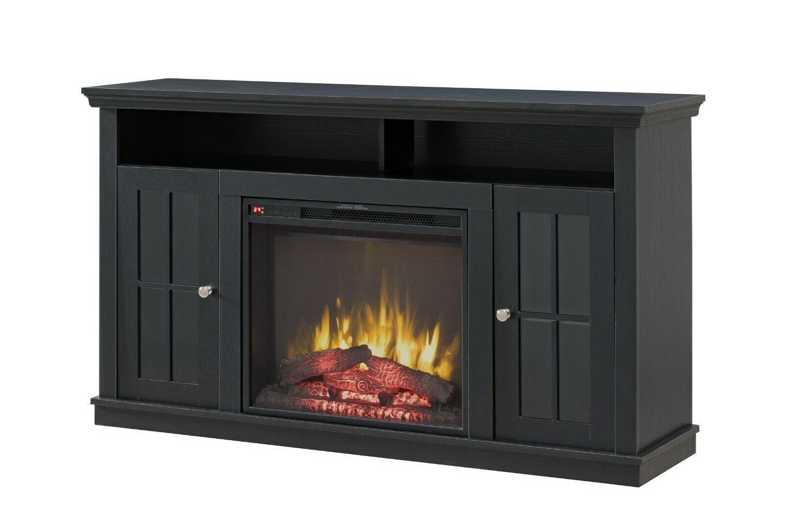 Modern Black Heat Fireplace Stand Unit Fits Tv