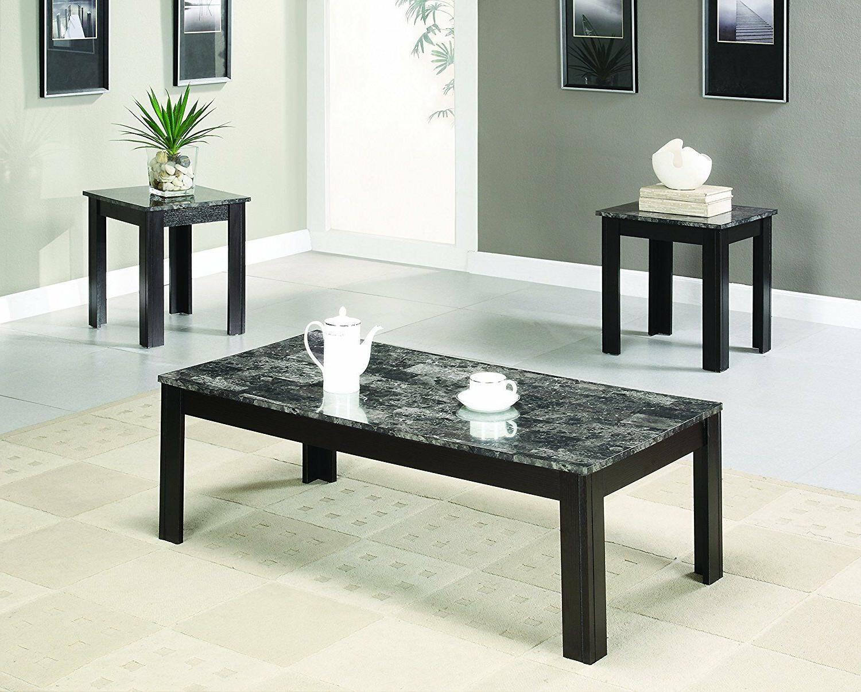 Modern Coffee Sofa End Table Set / Two TV Stand Living Room