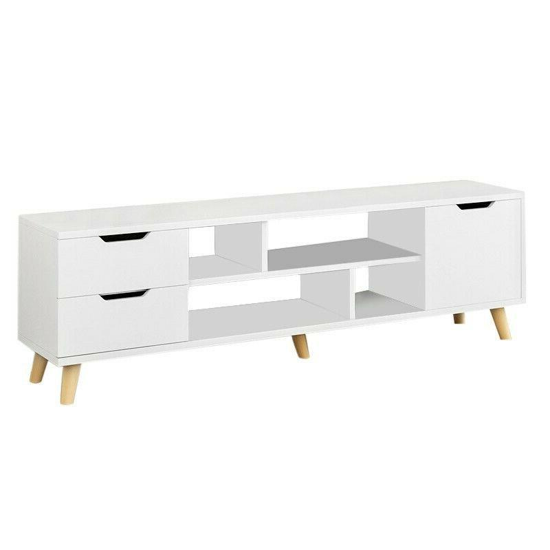 White TV Stand Unit Cabinet w/ 2 Drawers Entertainment Media