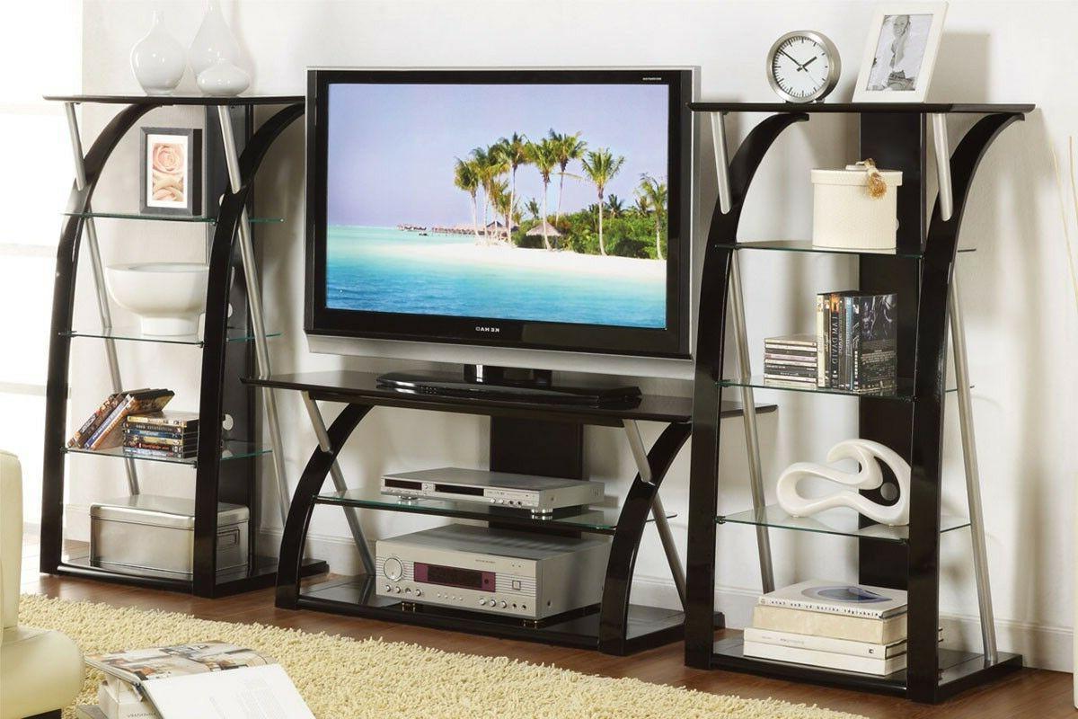 Modern TV and Media walnut black color for living room