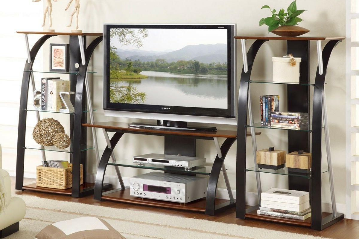 modern glass tv stand and media shelf