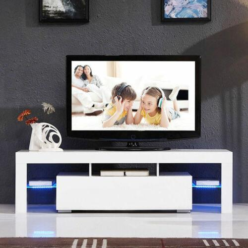 "51"" TV Stand High Gloss White Cabinet Console Furniture w/LE"