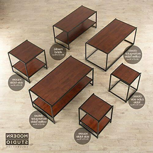 Modern Collection TV Media Table rich brown wood grain