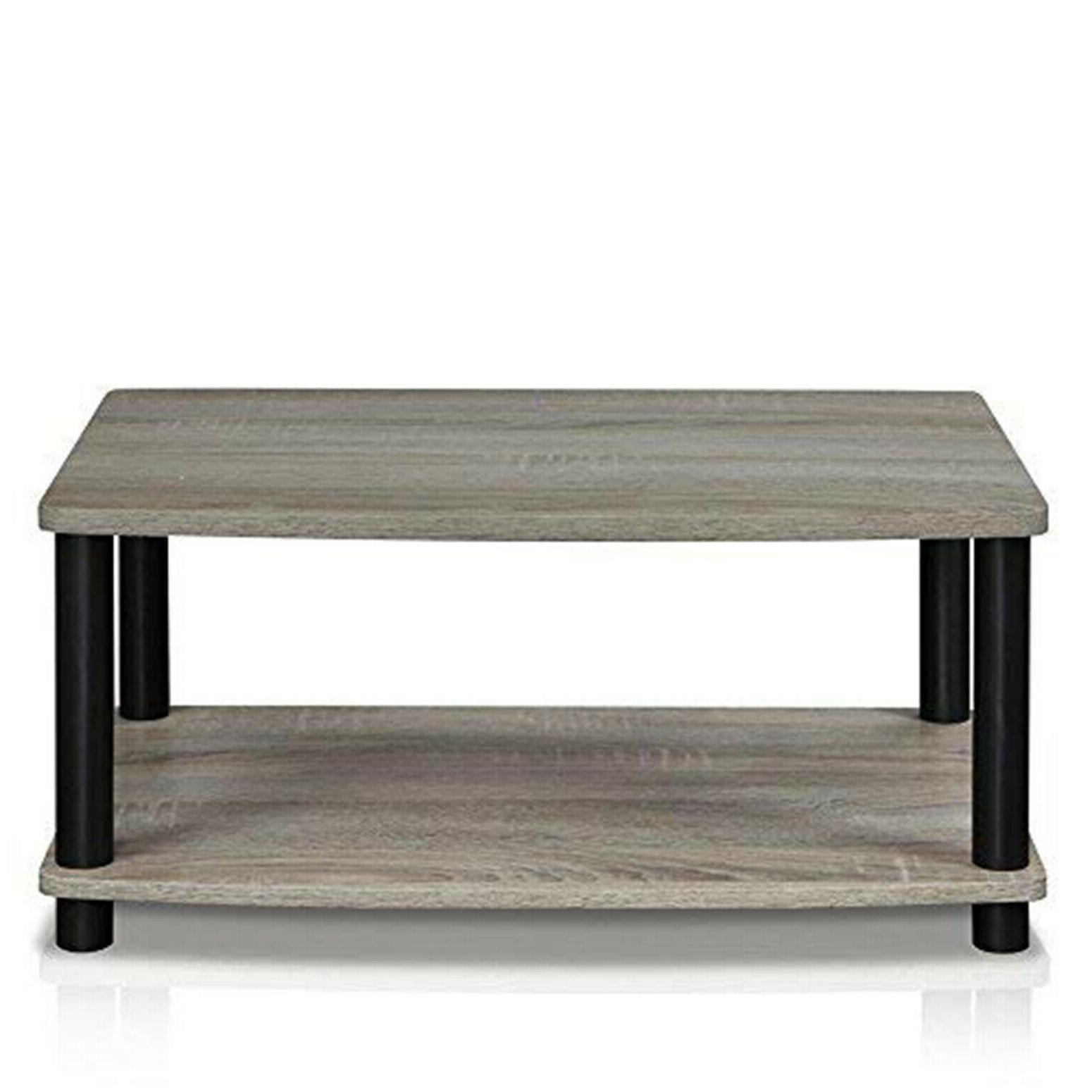 Modern Grey Small Wood End Stand Coffee 2-Tier