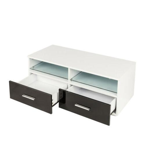 Modern TV Unit TV Stand High w/ 2 Drawer Led Shelves