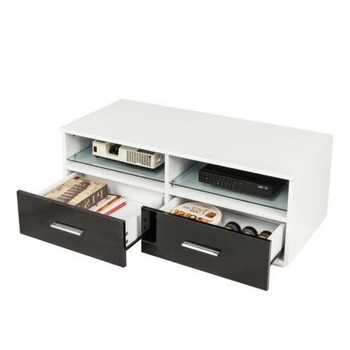 High Gloss White TV Stand Unit Cabinet Console Furniture LED