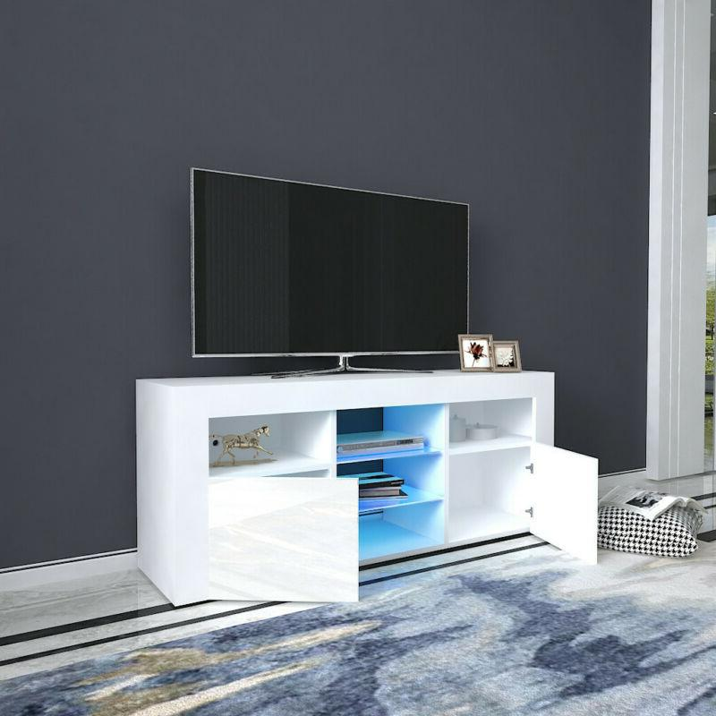 TV Cabinet Stand Unit LED Lights Shelves 2 Drawers Wood Cons