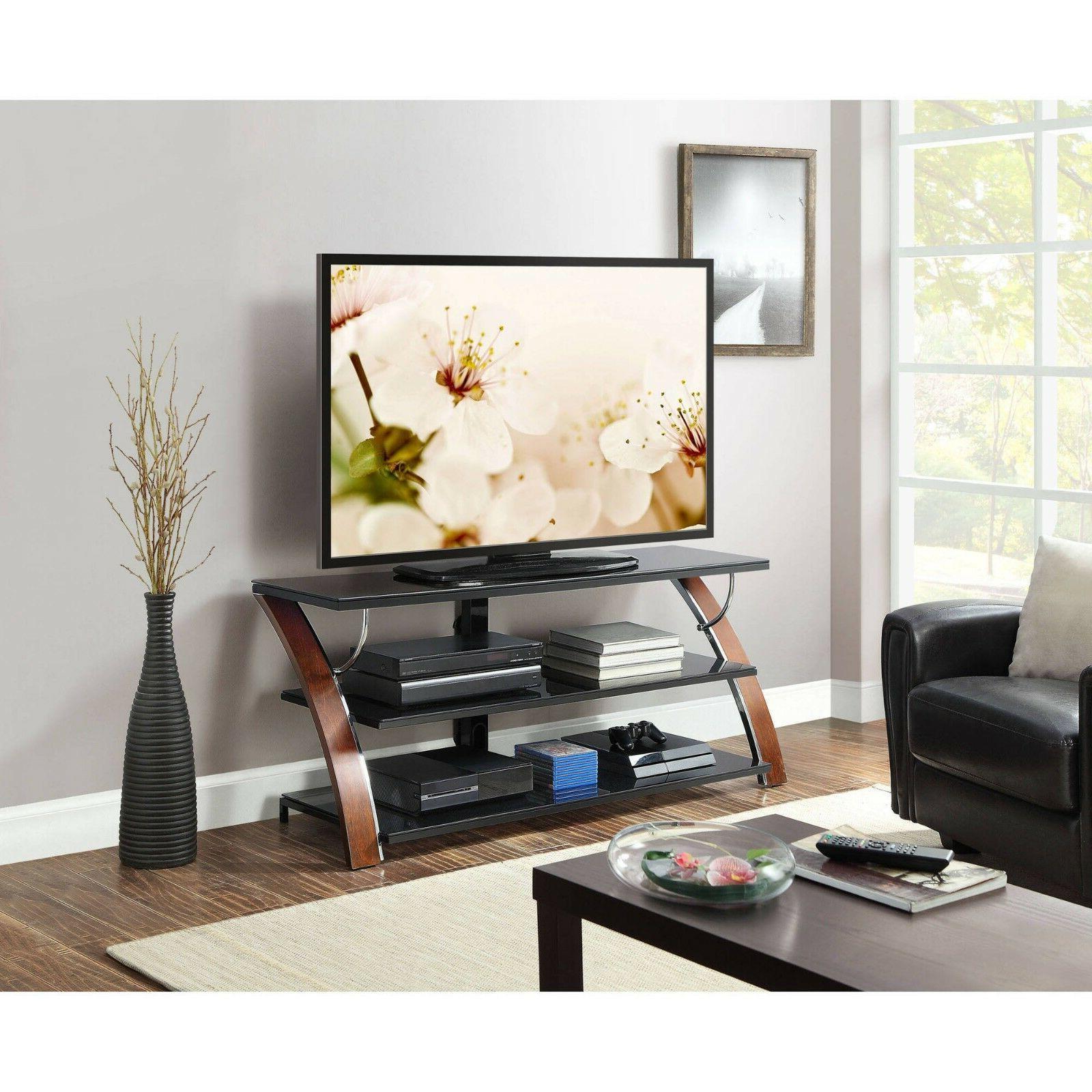 "Whalen Payton Brown Cherry 3-in-1 Flat Stand TVs to 65"" shelf"