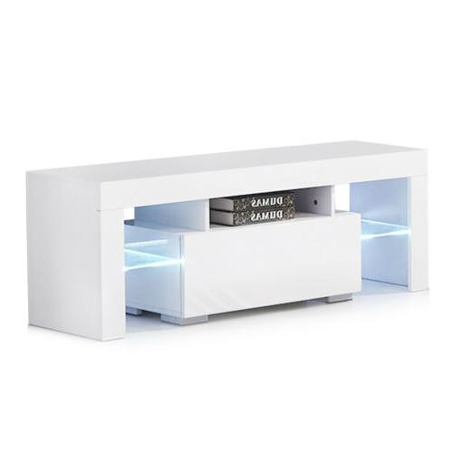 TV Stand Unit Cabinet Console Table Modern White w/ LED Ligh