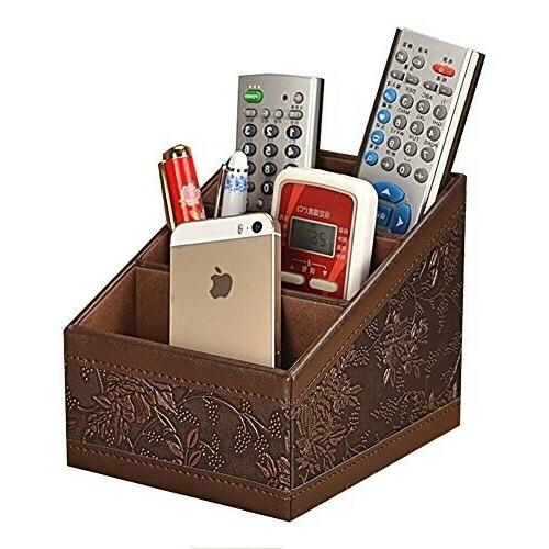 remote control organizer caddy pu leather storage