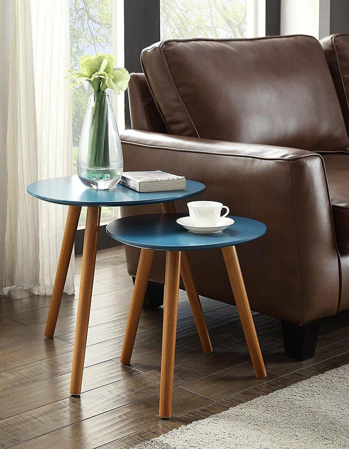 Round Two End Table Set Modern Coffee Sofa / TV Stand Living