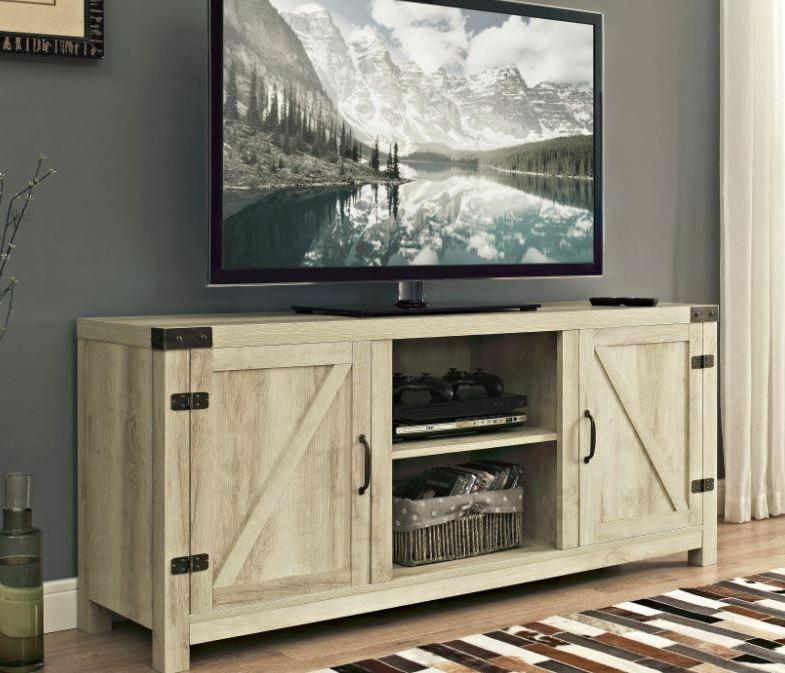 Rustic Ivory TV Stand For 65-in Flat Screens Country Wood Me
