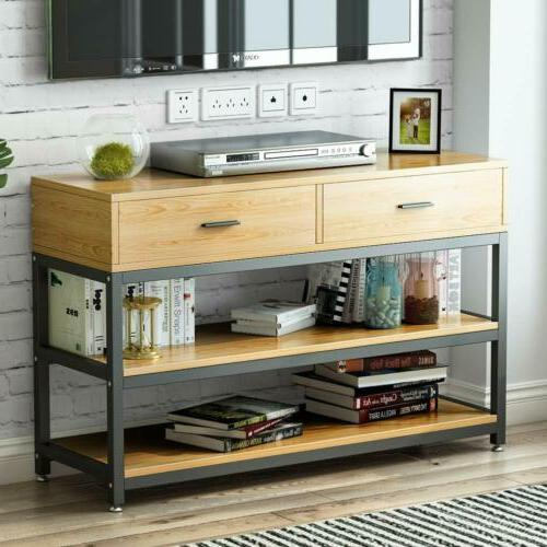 Industrial TV Stand 2 Shelf Hallway Entryway Table with Draw