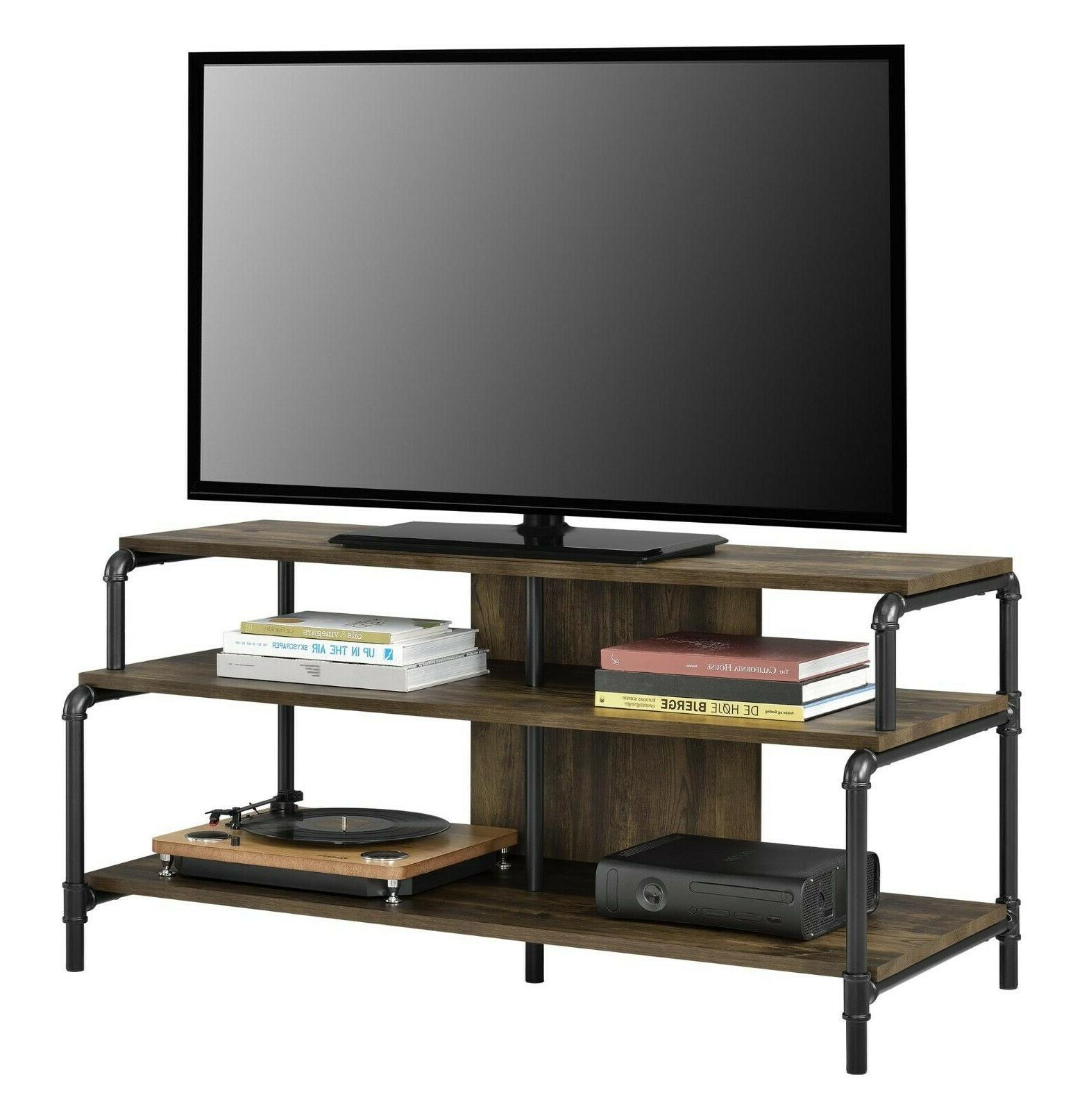 Rustic TV Stand Pipes Industrial Open Shelves Television Hol