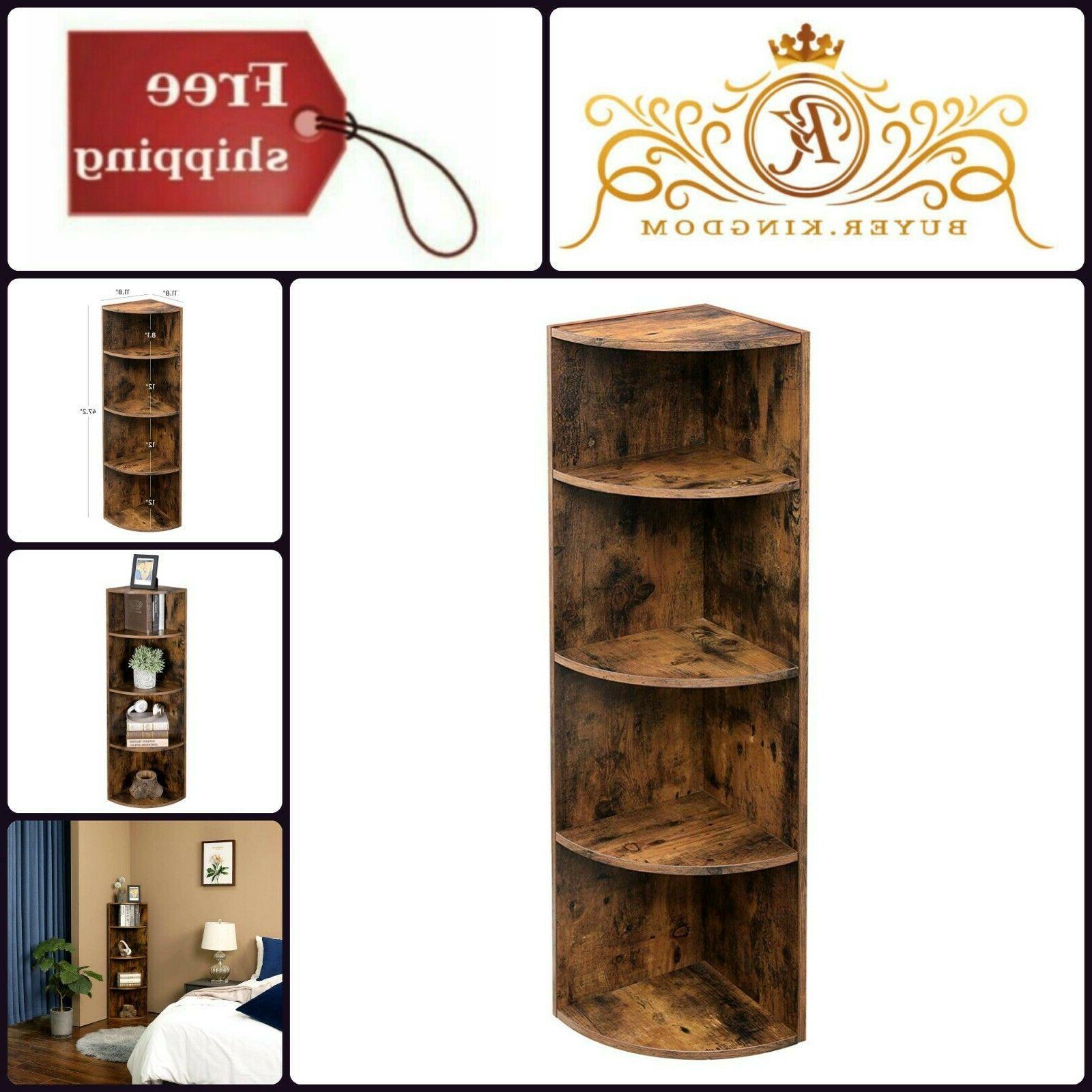 Rustic Wooden Bookcase Corner Shelf Unit Freestanding Displa