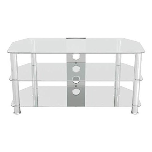 AVF Corner TV with Cable Glass, Chrome Legs