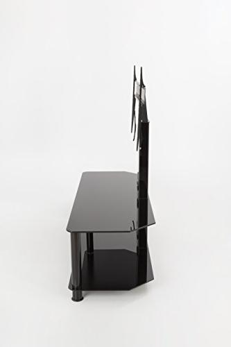AVF Stand with TV for up Glass, Black Legs