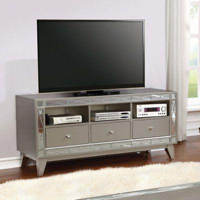 silver tv stand with 3 drawers