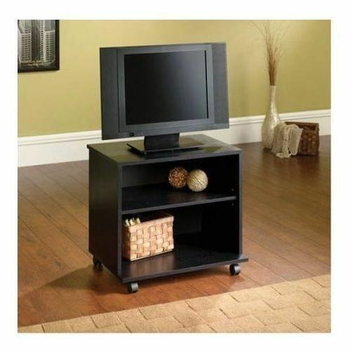 Small Entertainment Center Portable TV Stand Mobile Cart Woo