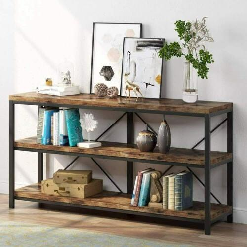 Sofa Table, 3 Tiers TV Stand Console Table with Shelves for