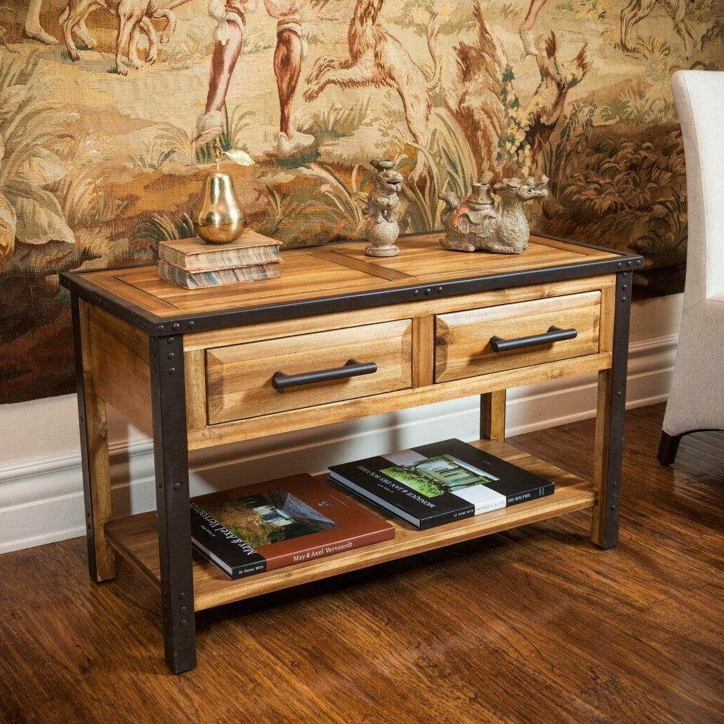 Console Table for Entryway Solid Wood Storage Side Table Ind