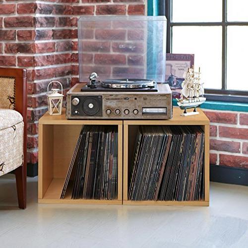 Way Basics Extra Stackable LP Shelf Vinyl Natural