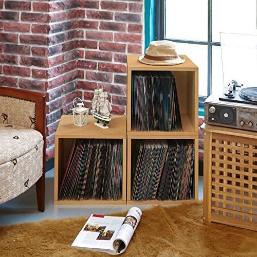 Stackable Album Shelf Vinyl Record Storage Natural