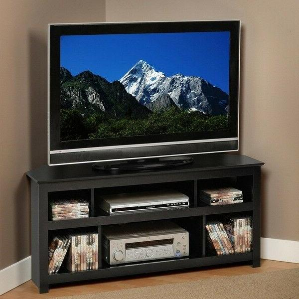 Transitional Corner TV Stand Unit Entertainment Console Furn