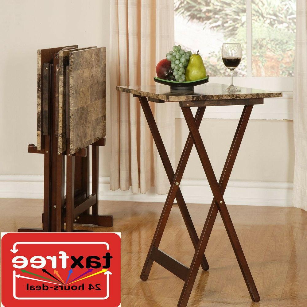 4 Pc Piece Tray Table W/ Storage Stand Set Wood TV Folding F