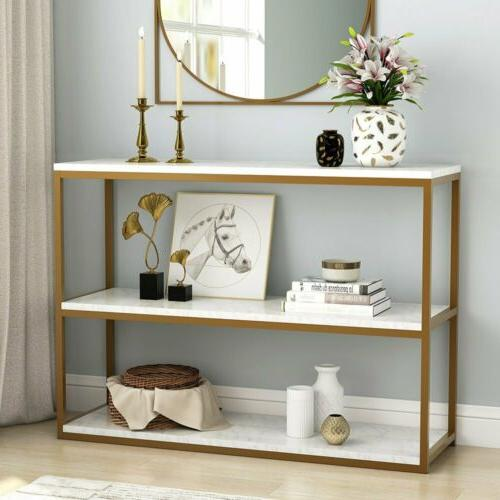 Tribesigns 3-Tier Console Table, Sofa Entry Table with Gold