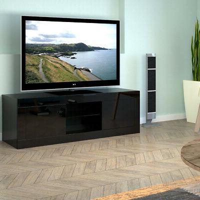 Modern TV Stand Unit Cabinet w/ LED Shelves 2 Cabinet Remote