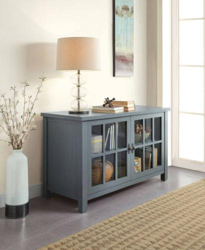 TV Console Stand Media Entertainment Furniture Wood Cabinet