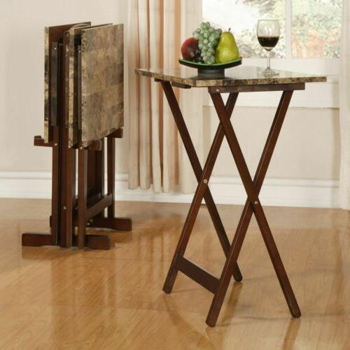 TV Dinner Tray Set With Folding Living