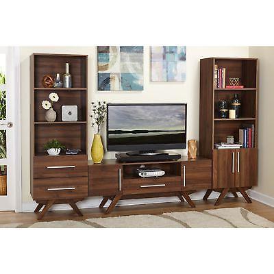 TV Media Entertainment Brown Wood Mid Modern